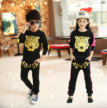 Retail Children Tiger Print sport set jogging sportswear coat+Harem Pants for boys girls tracksuits shampooers Hip Hop clothes(China)