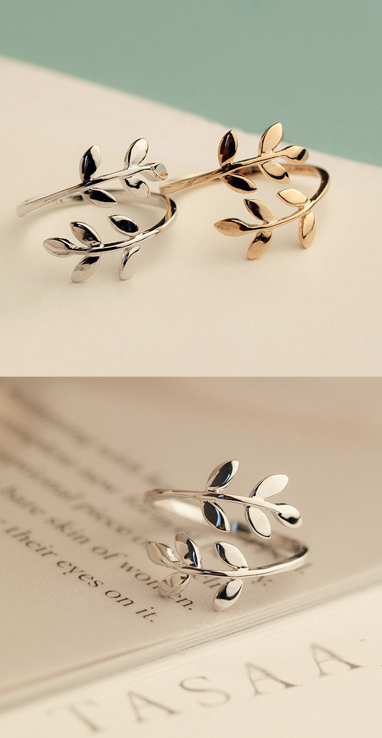 Charms Two colors Olive Tree Branch Leaves Open Ring for Women Girl Wedding Rings Adjustable Knuckle Finger Jewelry Xmas 7
