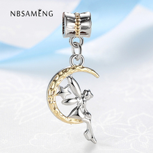 High Quality Bead Charm Cute Moon Maiden Pendant Beads Fit Women Pandora Bracelet & Bangle DIY Jewelry TJ112(China)