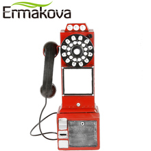 ERMAKOVA Handmade Antique Dial Phone Craft Retro England European Style Vintage Hanging Telephone Figurine Shop Loft Hotel Decor(China)