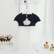 2017 Summer New Baby Toddler Girl Tulle Cotton Princess Dress Black White Short Sleeve Cute Dress Infant Fashion Clothing 6m 24m(China)