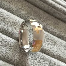 High Quality 1 Yellow Gold High Polished Jesus Cross Ring Width 8mm Couple Ring Popular 316L Jewelry Christmas Present