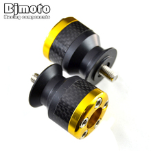 Golden 6mm motorcycle carbon fiber Swingarm Spools slider fits for Yamaha YZF R1 R6 R6S YZFR1 YZFR6 YZFR6S YZF-R6S(China)