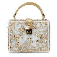 Top fashion women acrylic bags famous brand party clutch bags flower diamond pattern wedding purse(C003)