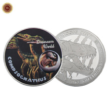 WR Compsognathus Dinosaur Series Colorized Silver Challenge Coin Luxury One Million Dollars Gift Coin Worth Collection