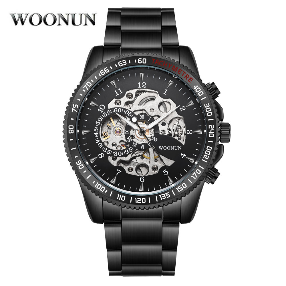 NEW WOONUN Men Mechanical Watches Fashion Sports Black Stainless Steel Automatic Self Wind Wrist Watches For Men Skeleton Reloj<br>