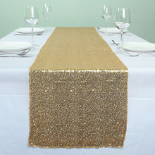 GOLD Banquet Sequin Table Runner Wedding Event Party Christmas Table Decoration(China)