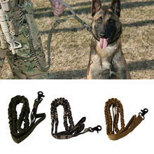 Dog Leash 1000D Nylon Tactical Military Police Dog Training Leash Elastic Pet Collars(China)