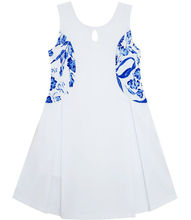 Sunny Fashion Flower Girl Dress Blue White Porcelain Floral Printed Sleeveless Sundress Cotton 2017 Summer Princess Size 4-10