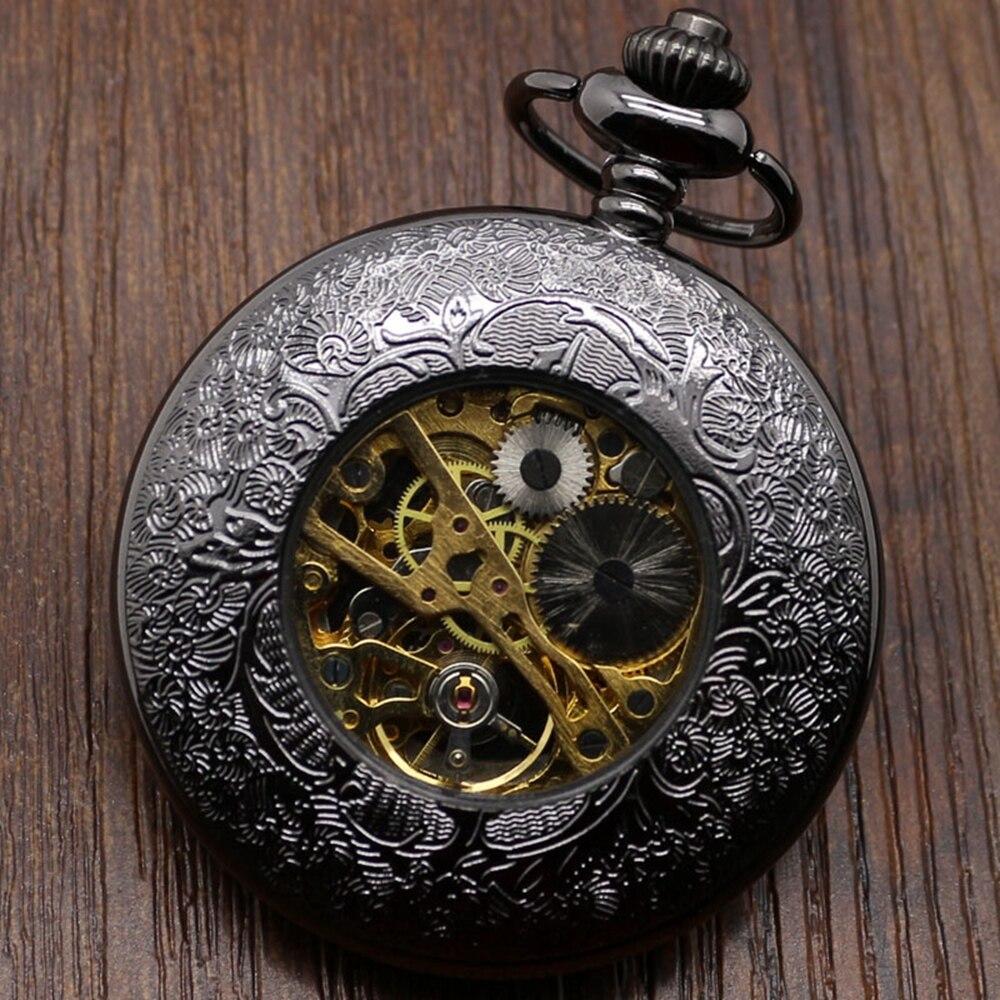 Hollow Stylish Gift Set for Mechanical Pocket Watch Set Men Women Black Steampunk Skeleton Watches Clock Gift Box Bad Chain (4)