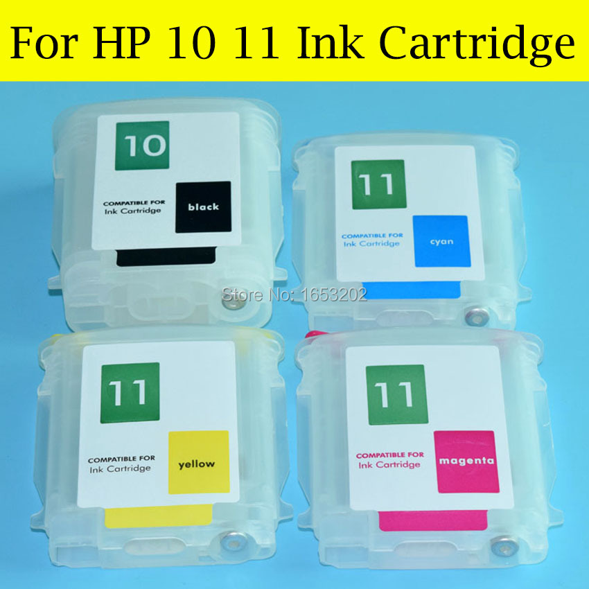 4 Pieces/Lot Empty Refill ink Cartridge For HP 10 11 With Auto Reset Chip For HP Designjet 100 110 70 10ps 20ps 50ps Printer<br><br>Aliexpress