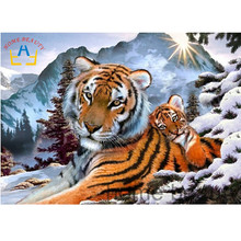 Diy 3d diamond embroidery home decor rhinestones picture diamond painting mosaic full square drill wall paint snow tiger AA856(China)