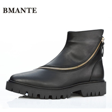 Black Real genuine leather fashion casual Western Kanye west Male social tide chukka shoe chaussur Motorcycle Footwear boots men(China)
