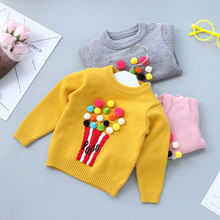 Spring Winter Autumn Baby Girls Sweater Kid Knitwear Popcorn Sweaters for Girl Knitted Sweater Pullover Clothes Yellow Gray Pink(China)