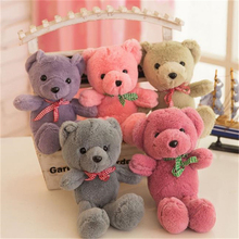 25cm Lovely Teddy Bear Stuffed Animals Soft Plush Toys Gray Pink Red Multicolored Bear Plush Toys Bow Tie Doll Wedding Gift Z82