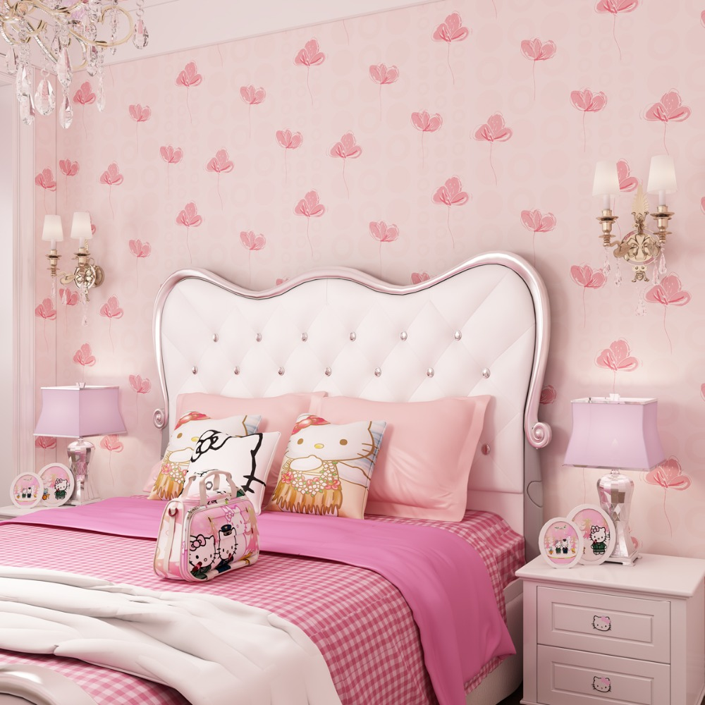 Kids Room Wallpapers Girls Bedroom Nonwovens Warm Korean Style Pastels Pink 3d wall murals Princess Phalaenopsis Wallpapers<br>