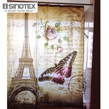 180X180 cm Eiffel Tower Printing Waterproof Shower Curtain Bathroom Products Quality Polyester Bath Curtains 1 PCS/Lot(China)