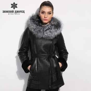 Натуральная Кожа женщин Кожаная одежда Хорошее качество шубы для женщин дубленка овчины пальто женщин лисий мех воротника