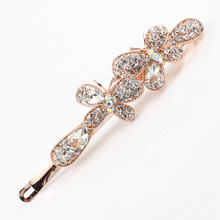 Hair clip women rhinestones clear pink purple K9 crystal head jewelry brand butterfly hairclip alloy golden hair grips 1 piece
