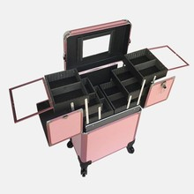 Professional Rolling Makeup Cosmetic Storage Case Organizer Box Trolley Black/Pink