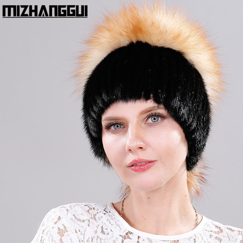 Mink Fur Womens Knitted Hat with Luxury Fox Fur Pom Poms Tops 100% Real Fur Warm Beanie Cap Russian Mink Hats for The WinterÎäåæäà è àêñåññóàðû<br><br>