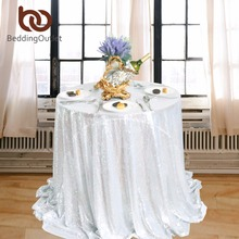 BeddingOutlet Silver Sequin Tablecloth Round Table Cloth Elegant Handmade Table Cover Sparkly Bling Tablecloths For Weddings