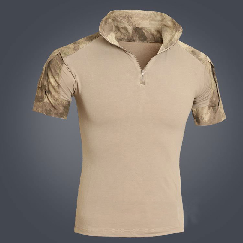 Mens Military Tacitcal T-Shirt Short Sleeve Combat Shirts Multicam Camouflage