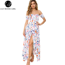 Lily Rosie Girl Women 2017 Off Shoulder Print Boho Empire Maxi Dress Floral Slash Neck Short Sleeve Beach Dresses Vestidos