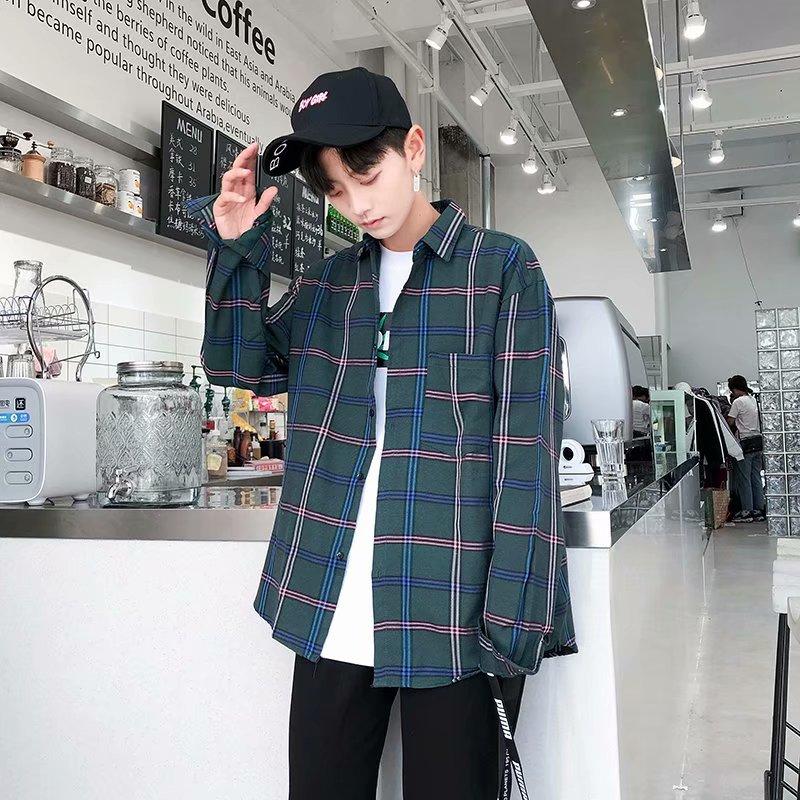 Shirts Men Turn-down Collar Plaid Simple All-match Loose Pockets Leisure Trendy Shirt Mens Ulzzang Korean Style Clothing Chic 49