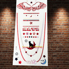 1PC Red Golden Angel Wings Tattoo temporary sticker ARLH-006 Choker Pattern Black Cat Flash Tattoos Paster Paper 2016