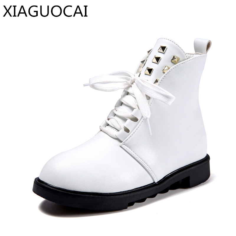 XiaGuoCai autumn Winter warm Girls Snow Boots Martin boots Rivet Princess Genuine Leather Side Zipper fashion kids shoes A20 27<br>