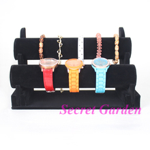 Wholesale High Quality Black Velvet Bangle Watch Bracelet Display Stand Holder T-Bar 2 Tiers