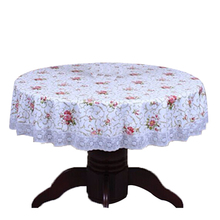 PVC Pastoral round table cloth waterproof Oilproof non wash plastic pad plus velvet anti hot coffee tablecloth 200cm #13