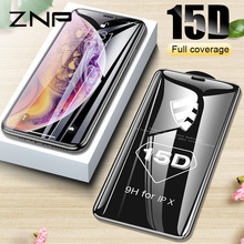 ZNP 15D Curved Edge Protective Glass on the For iPhone 7 8 6 6S Plus Tempered Screen Protector For iPhone X XS Max XR Glass Film(China)