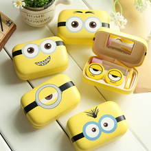 Cartoon Cosmetic Contact lens case with mirror contact lens case cute Lovely Travel box Eyewear Accessories