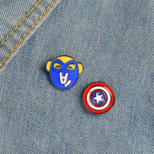 New Cartoon Brooch Thieves Captain America Shield Brooches Five pointed Star Lapel Pins Collar Pins For Man and Women(China)