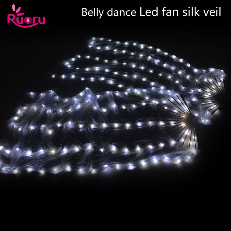 Ruoru 2 pieces = 1 pair Belly Dance Led Silk Fan Veil 100% Silk Led White Rainbow Belly Dance Fan Veil Stage Performance Props
