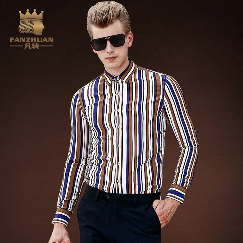 FANZHUAN Featured Brands Striped Shirt Men Fashion Casual Long Sleeve Turn-Down Slim Fit Shirt  Mens Dress Shirts Men Clothes