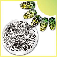 Round Nail Art Stamp Template Coffee Flower Design Stamping Image Plate 06