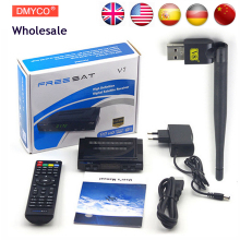 Wholesale Freesat V7 HD DVB-S2 Receptor Satellite Decoder + V8 USB WIFI HD 1080p Support BISS Key Powervu Satellite Receiver(China)