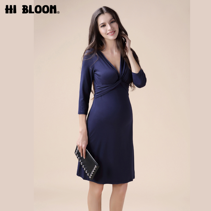 HI BLOOM Spring Pregnant Women Evening Party Dress Elegant Office Lady Vestidos Maternity Clothes Plus Size Maternity Dress<br>