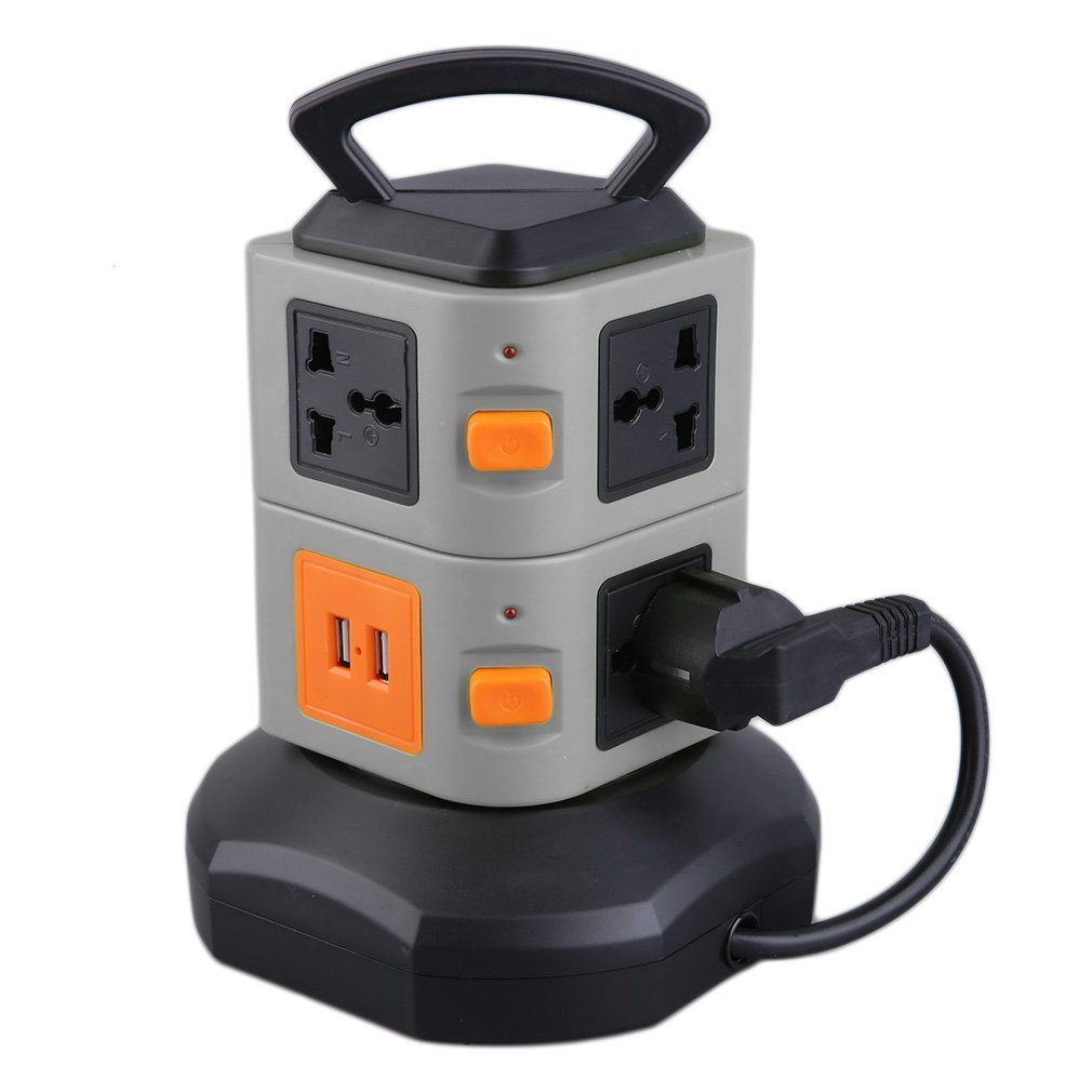 Smart Power Socket Plug 7 Outlet 2 USB Ports 2 Layer Socket Surge Protector Power Board 2500W EU Plug(China)