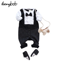 Brand New Baby Clothes Baby Boys Gentlemen Romper Spring Autumn Long Sleeve Jumpsuit Boy Party Wedding Wear(China)