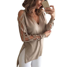 ZANZEA Sexy Bandage Hollow Out Long Sleeve Women Blouse Shirt 2017 Spring Autumn V Neck High Low Split Tops Club Party Blusas