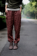 Vintage Casual Elastic Waist Women Pencil Cotton Linen Pants Spring Summer Cozy Light Weight Long Lady Trousers Brown Royal Blue
