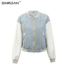 SINRGAN Women baseball style patchwork jackets 2017 Autumn Winter fashion sky blue outerwear Casual basic denim jacket coat(China)