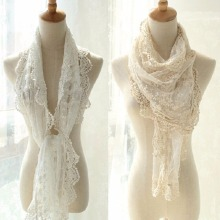 Fashion New Japen Sweet Style Hollow Lace Rose Floral Knit Long  Scarf Women Embroidered  Scarves All-match Shawls & Wraps