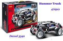 Baby Toys  High Tech Series Transport New Hummer SUV Model kits blocks 470pcs Truck Dune Buggy Building block sets