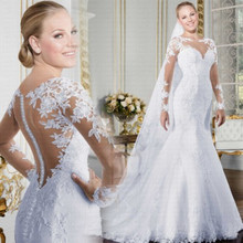 Bridal-Gowns Wedding-Dress Mermaid Lace Appliques Long-Sleeve See-Through O-Neck Sheer
