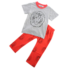 2pcs Fashion Casual Boy Girl Baby Clothes Lion Tops T-shirt + Pants Outfits Clothing Set Spring Summer 2 3T 4T 5T 6T 7T